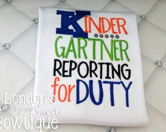 Pre-K~ 6th Grade Reporting for Duty/ Boys  T-shirts/ Back to School Shirts/ Embroidered T-shirt/ Toddler T-shirt