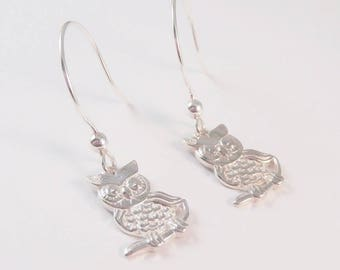 Owl, Sterling Silver Owl Earrings, Owl Earrings, Bird Earrings, Tree Earrings, Forest Earrings, Animal Earrings,