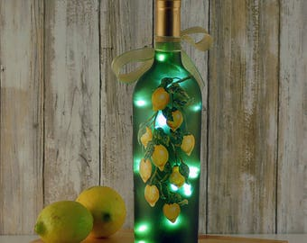 Wine bottle light, hand painted, yellow lemons