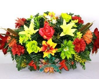 Beautiful XL Fall Flower Mixture Tombstone Headstone Saddle