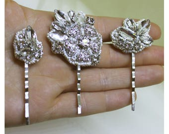 Bridal hair accessories,  clear crystal wedding jewelry, bride accessory, one of the kind bobby-pin, flower accessories, floral hair pin