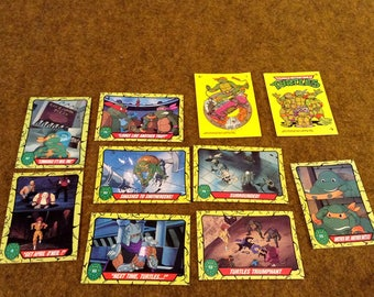 10 Vintage Topps TNMT - Teenage Ninja Mutant Turtle Collection Cards or Stickers.