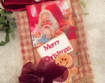 1 LARGE  Gift Tag, Gingerbread Man, Xmas Gift Tag,Christmas Gift Tags, Santa Tag,French Christmas Tag, Holiday,Tag, Mixed Media Tag, Vintage