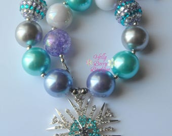 Frozen Inspired Snowflake Bubblegum Chunky Bead Necklace