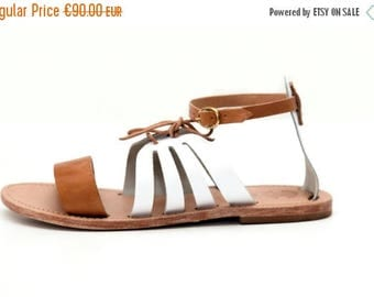 Natural and White Leather Sandals, Women's Sandals, Casual Women's Leather Flats, Womens Shoes, Leather Womens Sandals