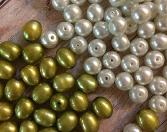 pearl bead supplies, jewelry making supplies, white & green pearl beads