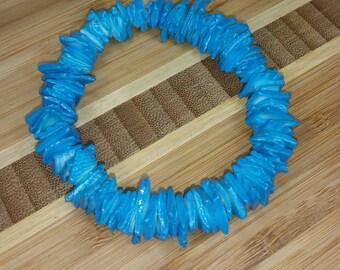 Blue Puka Clam Shell Bracelet- Blue Seashell Bracelet - Blue Bracelet- Surfer Bracelet Blue Seashells Bracelet Hawaiian Bracelet Blue Beach