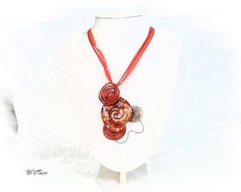 Red aluminum CO681 Murano glass pendant necklace