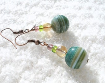 copper and green agate earrings BO550