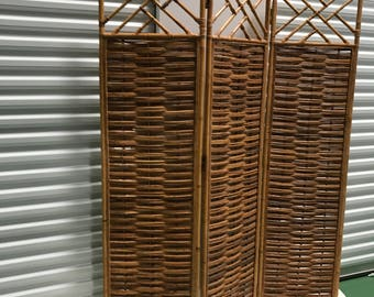 Chinese Chippendale Bamboo & Rattan Screen
