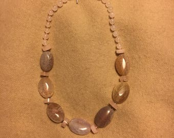 Fire agate, rose quartz and sterling necklace