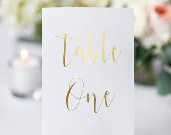 table number cards gold foil