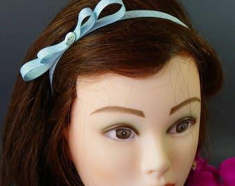 "Headband ""Poplin"" Blue Ribbon with white dots with bow"