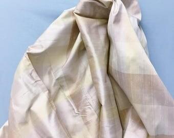 Dupioni silk in pale pastel plaid/stripe