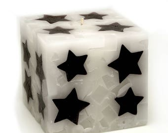 Cosmic Candles Black Star Square Pillar Unscented 4x4
