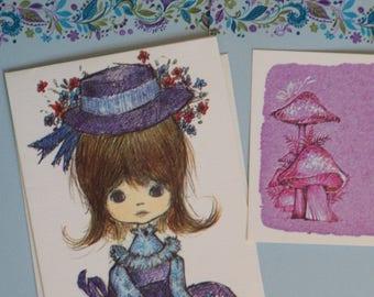 Vintage Stationery Collection - Lavender & Blues ~ Little Girl