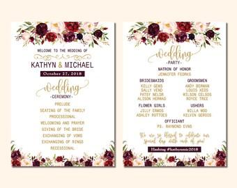 Wedding Program Card, Elegant Burgundy Roses Gold Wedding Program, Maroon Roses Flowers Program, DIY Printable PDF Program (P56) Bernice