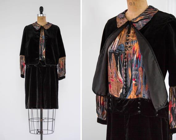 vintage 1920s drop waist dress | silk black velvet dress | antique 20s dress | roaring 20s dress