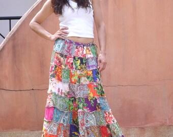 Patchwork Skirt..Long Skirt ..Full Length Skirt .Boho Skirt ..Cotton Skirt..Long Skirt For Women..Summer Skirt .High Waist Skirt..Maxi Skirt