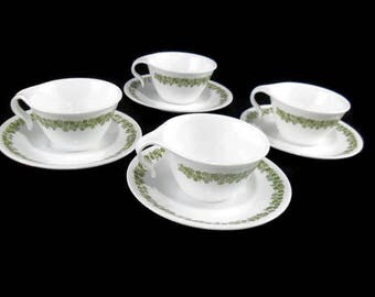 Vintage Corelle Cups and Saucers * Set of 4 *  Spring Blossom Green Tea Cups * Crazy Daisy * Pyrex Compatible