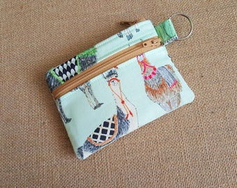 New! Small Keychain Wallet, Mini Wallet, Coin Purse With Zippered Pocket in Llama Print