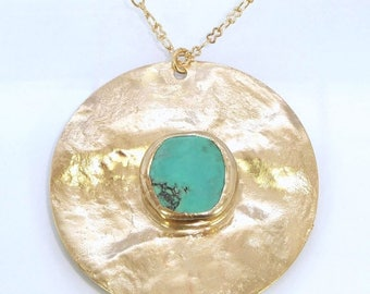 SUMMER SALE- Turquoise Necklace Pendant,Mom, Bohemian Jewelry,Turquoise Gold Pendant,Turquoise Jewelry, Long Gold Necklace,Gemstone Pendant,