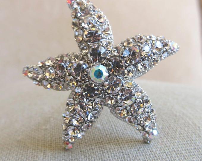 """Starfish Hair Pin Rhinestone Beach Wedding Bride 1 3/4"""" Star Hair Jewelry"""