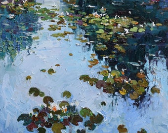 """Water Lily Pond - Original oil painting 19.7"""" x 23.6"""" Contemporary, Fine art by Valiulina"""