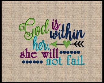 God is within her she will not fail machine embroidery Psalms 46:5 Arrow embroidery Design Heart Embroidery 5 sizes 4x6 5x7 up to 8x10