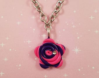 Handmade Polymer Clay Flower Necklace - Hot Pink and Purple Swirl