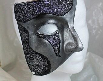 Silver Phantom Masquerade Mask, Silver and Black Paper Mache Phantom Masquerade Mask