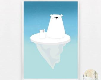 Ice Bears A3 Print