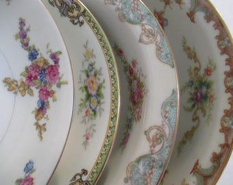 Vintage Mismatched China Soup/Salad Bowls for Weddings,Tea Parties,Bridal Luncheons,Showers,Hostess Gift,Bridesmaid Gift-Set of4