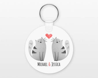 Cat Keychain, Couple Keychain Personalized Keychain, Boyfriend Keychain Girlfriend Keychain, Couple Key Chain, Animal Keychain, Cat Keyring