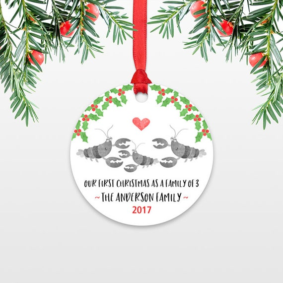 Lobster New Parents Christmas Ornament Family Christmas Ornament Our First Christmas Baby Personalized Christmas Ornament Family of 3 Three