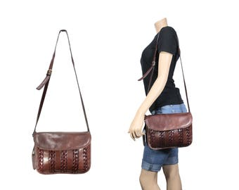 Mahogany Brown Woven Leather Messenger Purse by Etienne Aigner // H268