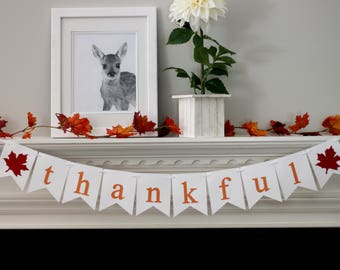 fall banner - fall decorations - thanksgiving decorations - thankful banner - thankful