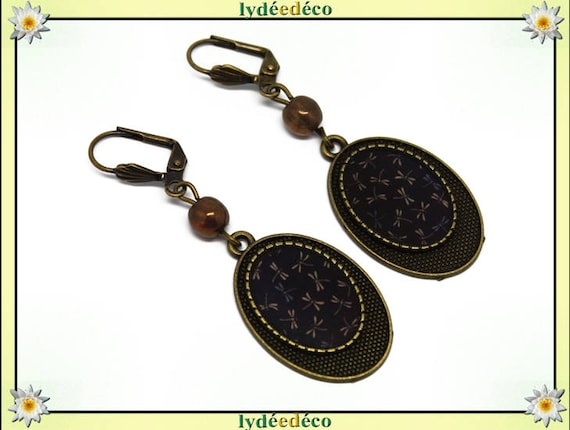 Earrings retro dragonflies Japan Brown blue black resin beads bronze brass glass pendants