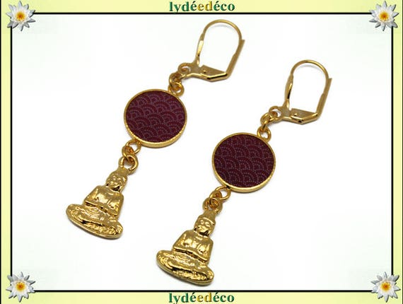 Earrings Buddha brass gold 24 carat 24 k waves sea Japan: seigaiha red burgundy white resin
