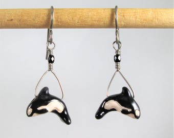 Swimming Orca Whale Dangles on Pure Titanium Ear Wires