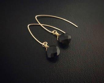 14K Gold Filled Black Onyx Teardrop Earrings [5A]