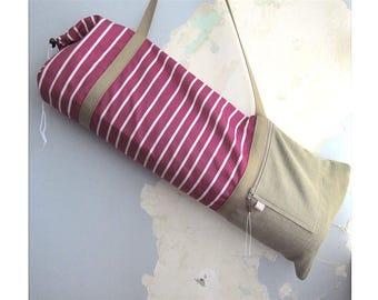 Yoga mat bag, Yoga mat carrier - Nautical, magenta and tan - Medium