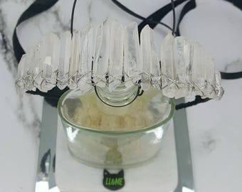 Quartz crystal crown and hat band, bohemian, gypsy, boho, bridal, wedding, bride