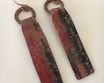 Rustic Metal Earrings , Hammered Copper Earrings, Handmade Jewelry, Red Metal Rectangle Long Dangle Earrings, Boho