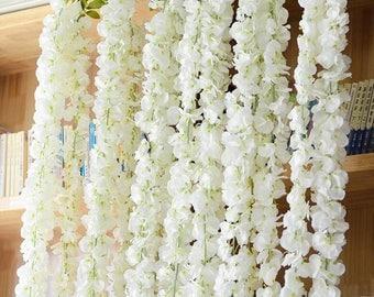 Wedding Arch Garland White Wisteria Silk Flower Garland Home Garden Hanging Flowers Wedding Flower Backdrop Ceremony Decor 4 Stems MGT-059