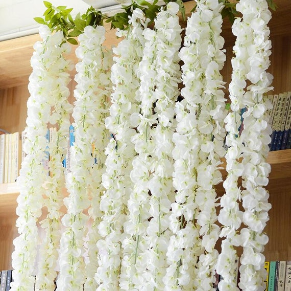 Flower Garlands For Weddings: Wedding Arch Garland White Wisteria Silk Flower Garland Home