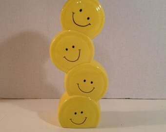 Yellow Smiley Faces Stacked Ceramic Bud / Flower Vase 4 Faces by Burto and Burton