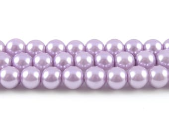 Light Purple Glass Pearl Beads, Faux Pearl Beads, 8mm - 1 strand (FP17)