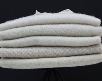 White Mix of Felted Wool for Rug Hooking and Wool Applique
