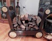Solid Wood Firewood Crib, Firewood Storage Rack, Indoor Log Holder